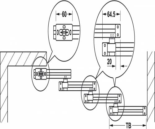 940.44.001 К-т направляючих  елементів для Slido Classic Telescopic