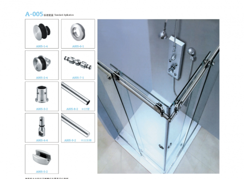 A005 Set for sliding shower screen 90 degrees (round tube)