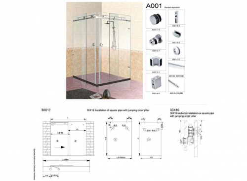 A001 Set for sliding shower screen 90 degrees