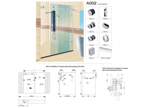 A002 Kit for sliding shower screen between walls