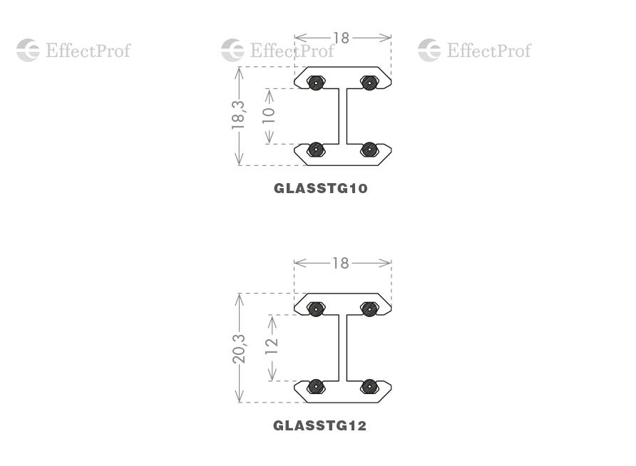 Профіль ущільнювач  GLASS TO GLASS, L-3000 скло 10мм