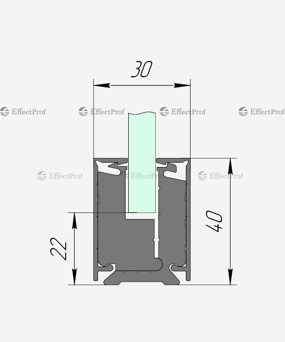 Затискний профіль для скла H-40